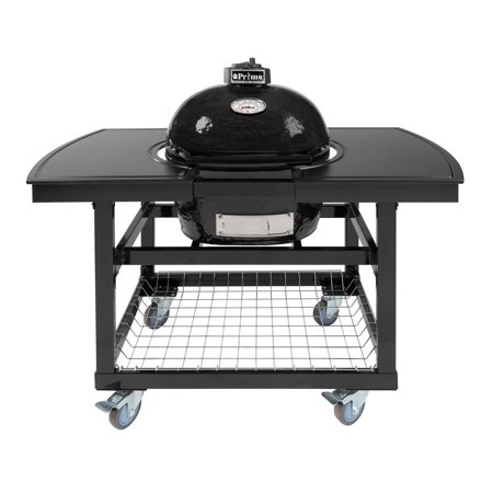 Primo Oval JR 200 Ceramic Smoker Grill On Cart with 2-Piece Island Top
