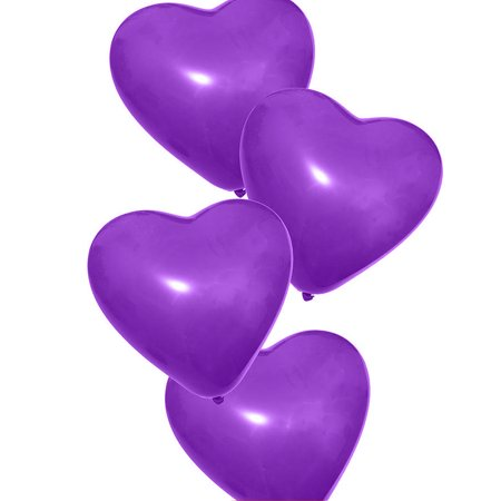 100 x Heart Balloons Birthday Party, Kids Party, Heart Shape Balloons, Purple](100 Birthday)