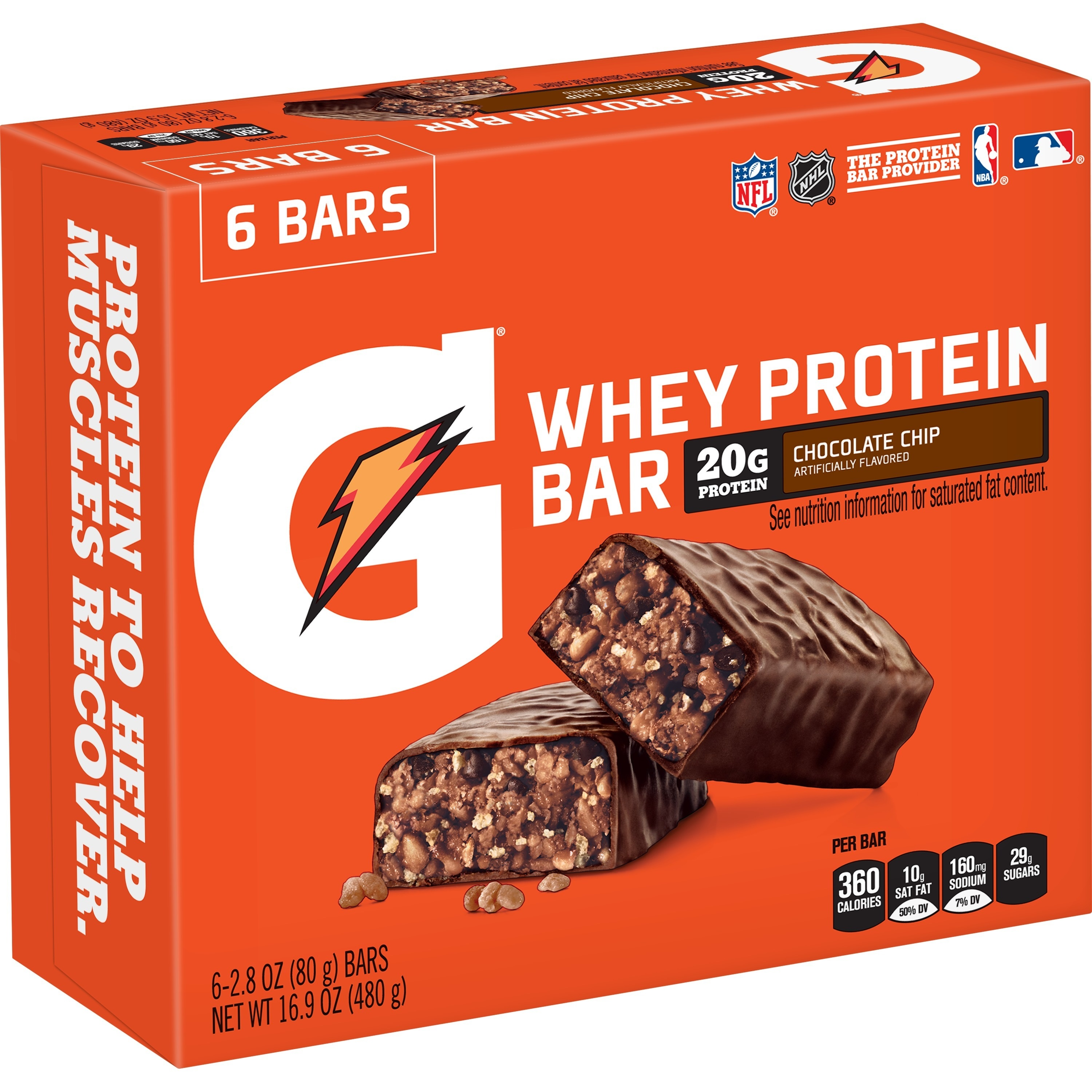 Gatorade Whey Protein Recover Bar, Chocolate Chip, 20g Protein, 6 Ct