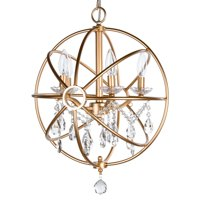 Amalfi Décor 5 Light Modern Crystal Orb Plug-In Chandelier (Gold) | Wrought Iron Frame with Glass Crystals