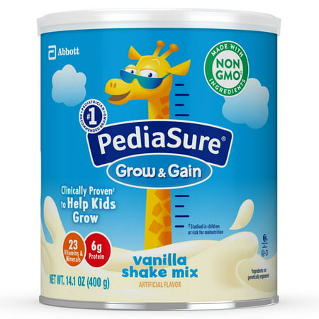 PediaSure Grow & Gain Non-GMO Shake Mix Powder, Nutritional Shake For Kids, With Protein, DHA, Antioxidants, and Vitamins & Minerals, Vanilla, 14.1 oz,