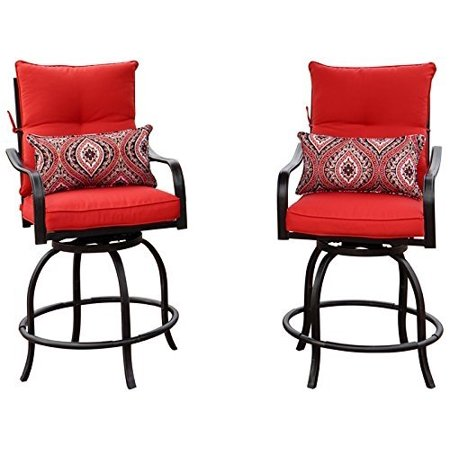 Super Kozyard Corona 360 Degree Swivel Two Bar Chairs 2 Chairs W Red Seat And Back Cushions 2 Nice Patterned Pillows Included Unemploymentrelief Wooden Chair Designs For Living Room Unemploymentrelieforg