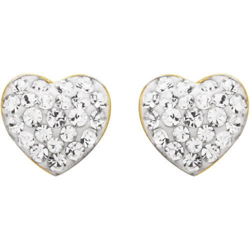 Luminesse 18kt Gold over Sterling Silver White Heart Earrings made with Swarovski Elements