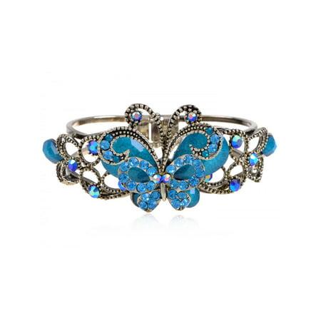 Vintage Aquamarine Ocean Crystal Rhinestone Butterfly Bangle Bracelet Cuff ()