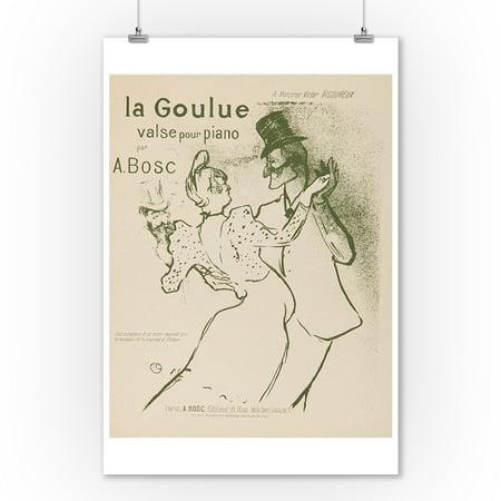La Goulue (song sheet cover) Vintage Poster (artist: Toulouse Lautrec, Henri De) France c. 1894 (9x12 Art Print, Wall Decor Travel (Bed Intruder Song)