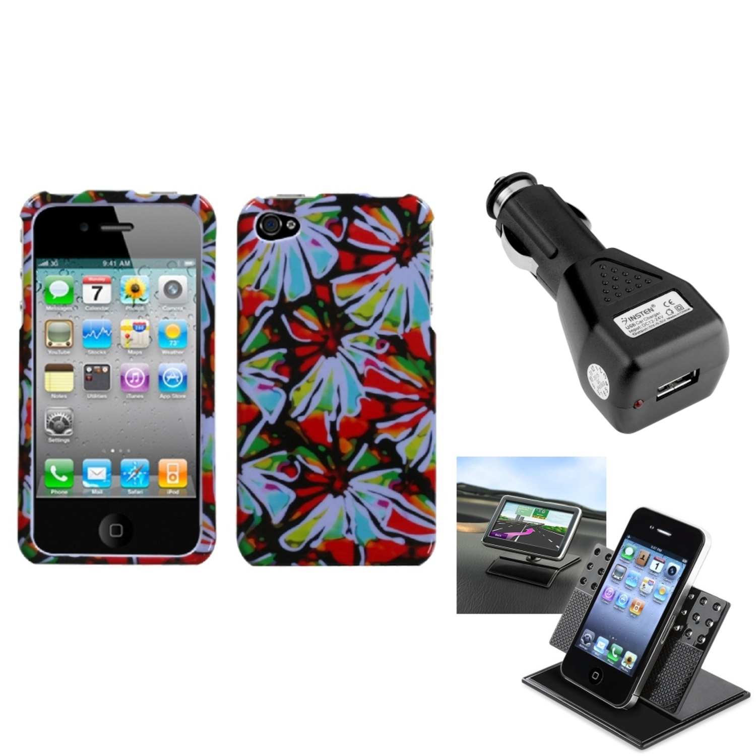 Insten Car Charger Holder Flower Power Phone Case Cover For APPLE iPhone 4S/4