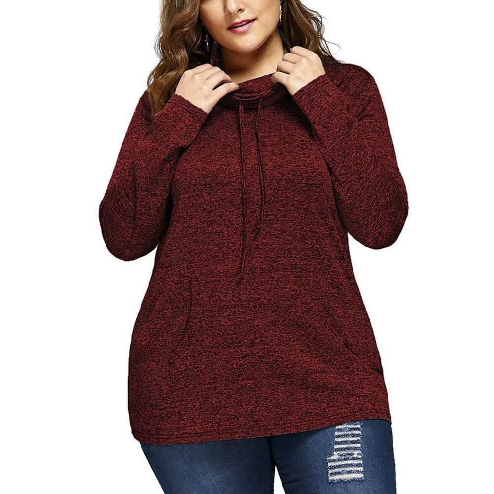 f1a44b7c12f1 Noroomaknet Plus Size Womens Sweatshirt with Pocket, Long Slevee Pullover  Hoodies for Women, Plus Size Tops Coat for Womens Activewear,Wine  Red(XL-5XL)