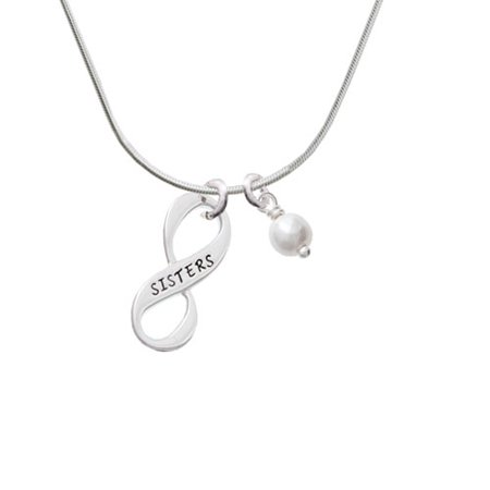 Sister Infinity Sign - Imitation Pearl Bicone Crystal Necklace