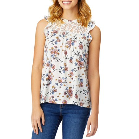 Juniors' Printed Lace Yoke Flutter Sleeve Tank