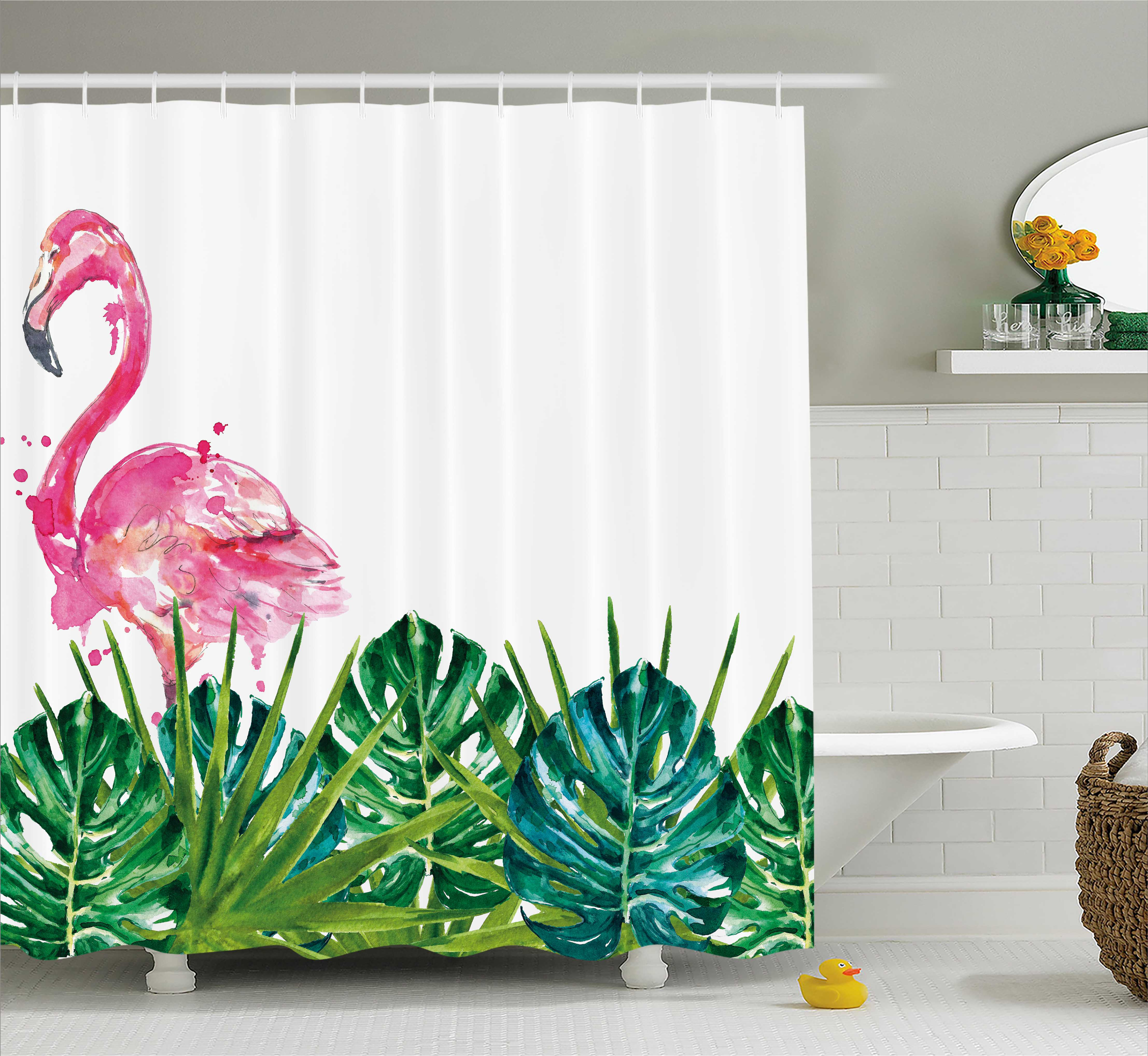 Tropical Shower Curtain Exotic Nature Botanical Artwork With Leaves And Flamingo Watercolors Fabric Bathroom Set Hooks 69W X 84L Inches