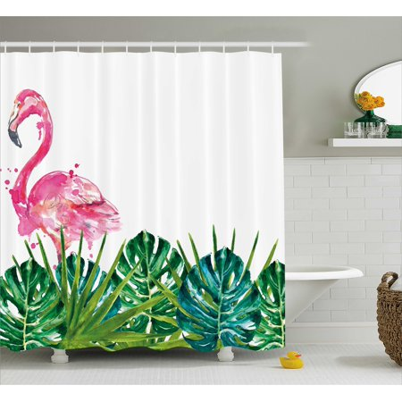 Tropical Shower Curtain Exotic Nature Botanical Artwork With Leaves And Flamingo Watercolors Fabric