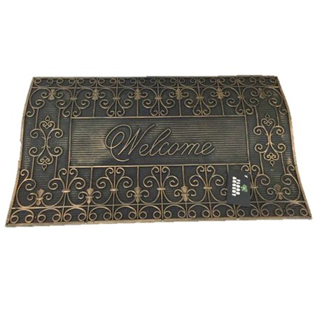 Rubber Black with Metallic Detail Welcome Doormat 30 by 18 (Scroll), All Rubber with Raised Accents By Floor Accent from - Welcome Accent