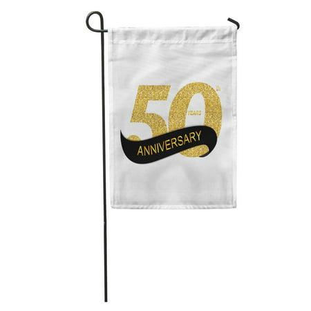 LADDKE Wedding 50Th Anniversary Birthday Ribbon Age Badge Celebration Ceremony Certificate Garden Flag Decorative Flag House Banner 28x40