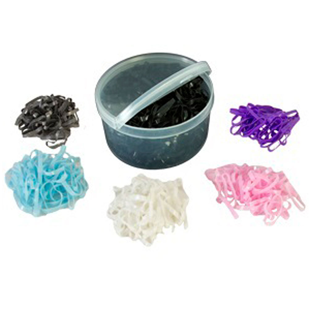 HILASON WESTERN HORSE TACK CARE BRAIDING RUBBER BANDS 500 PSC/PACK GREY