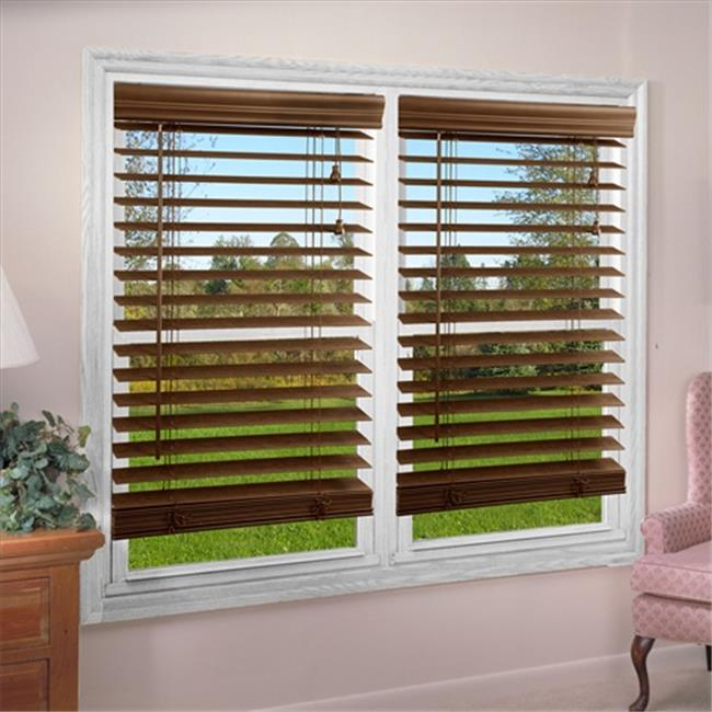 DEZ Furnishing QADO230540 2 inch Faux Wood Blind, Dark Oak - 23 W x 54 L inch