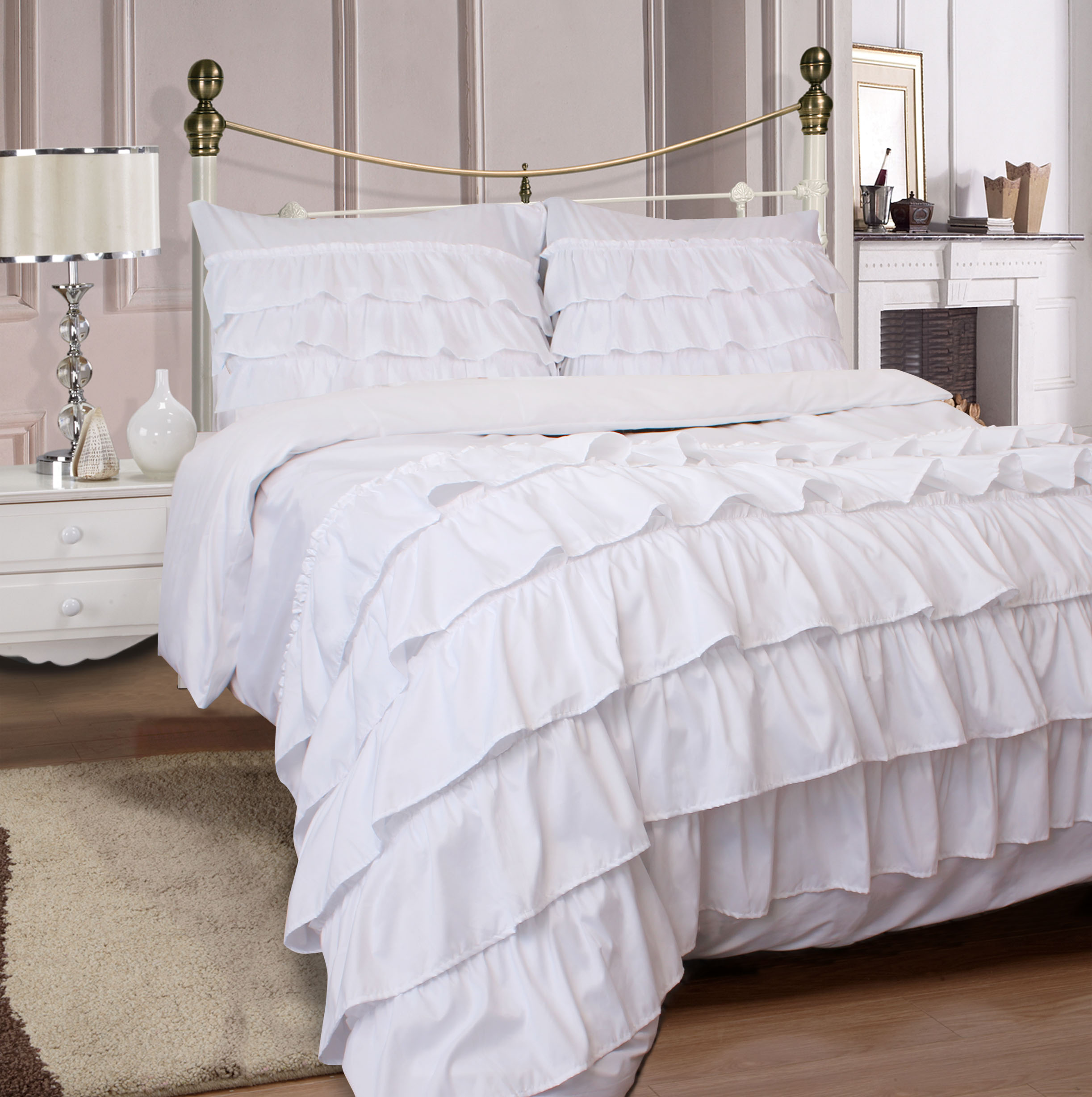 Miley Ruffled 3-Piece Duvet Cover Set Soft Microfiber with Pillow Cases  King Size- Pure White