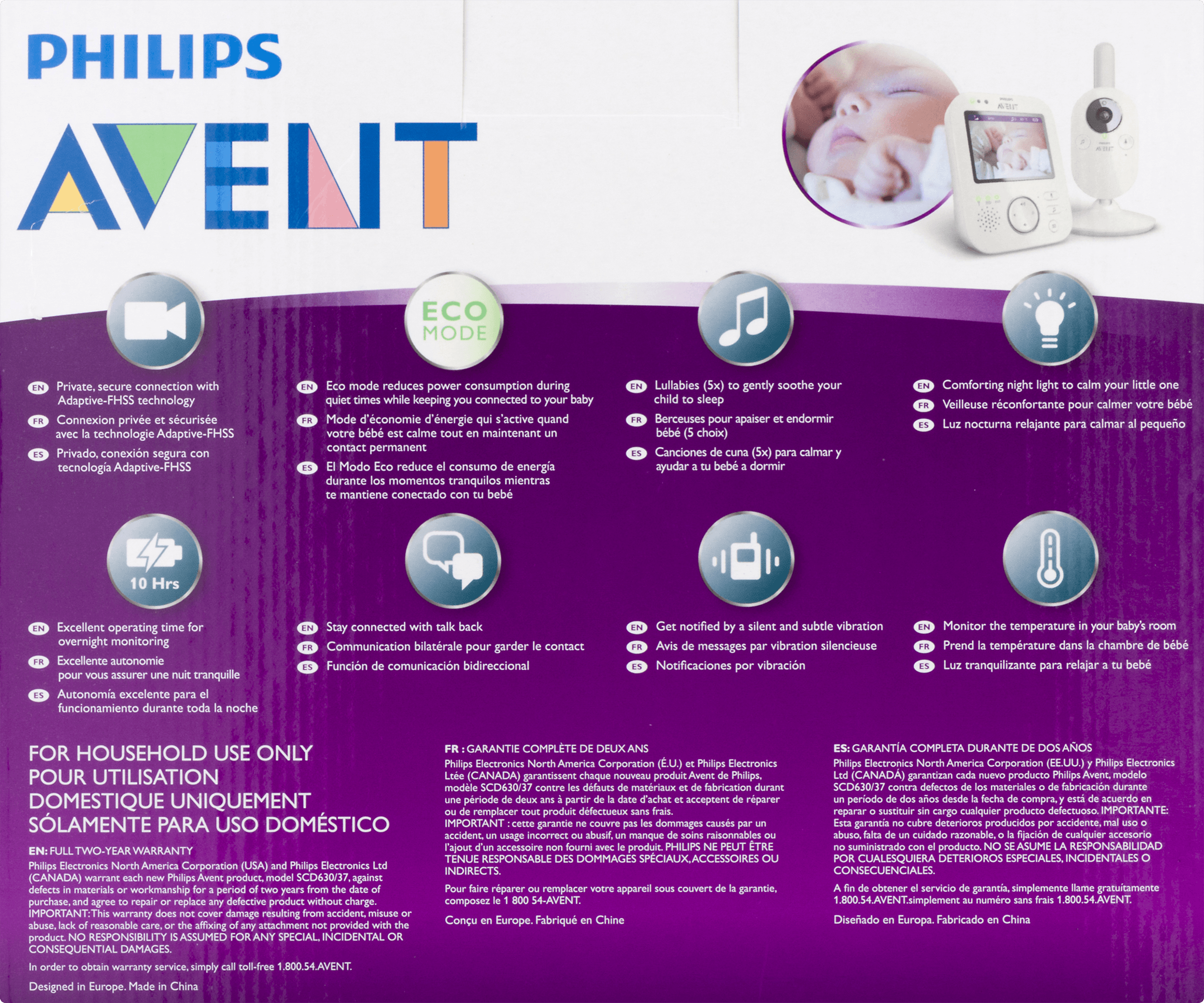 Philips Avent Digital Video Baby Monitor With FHSS, SCD630/37   Walmart.com