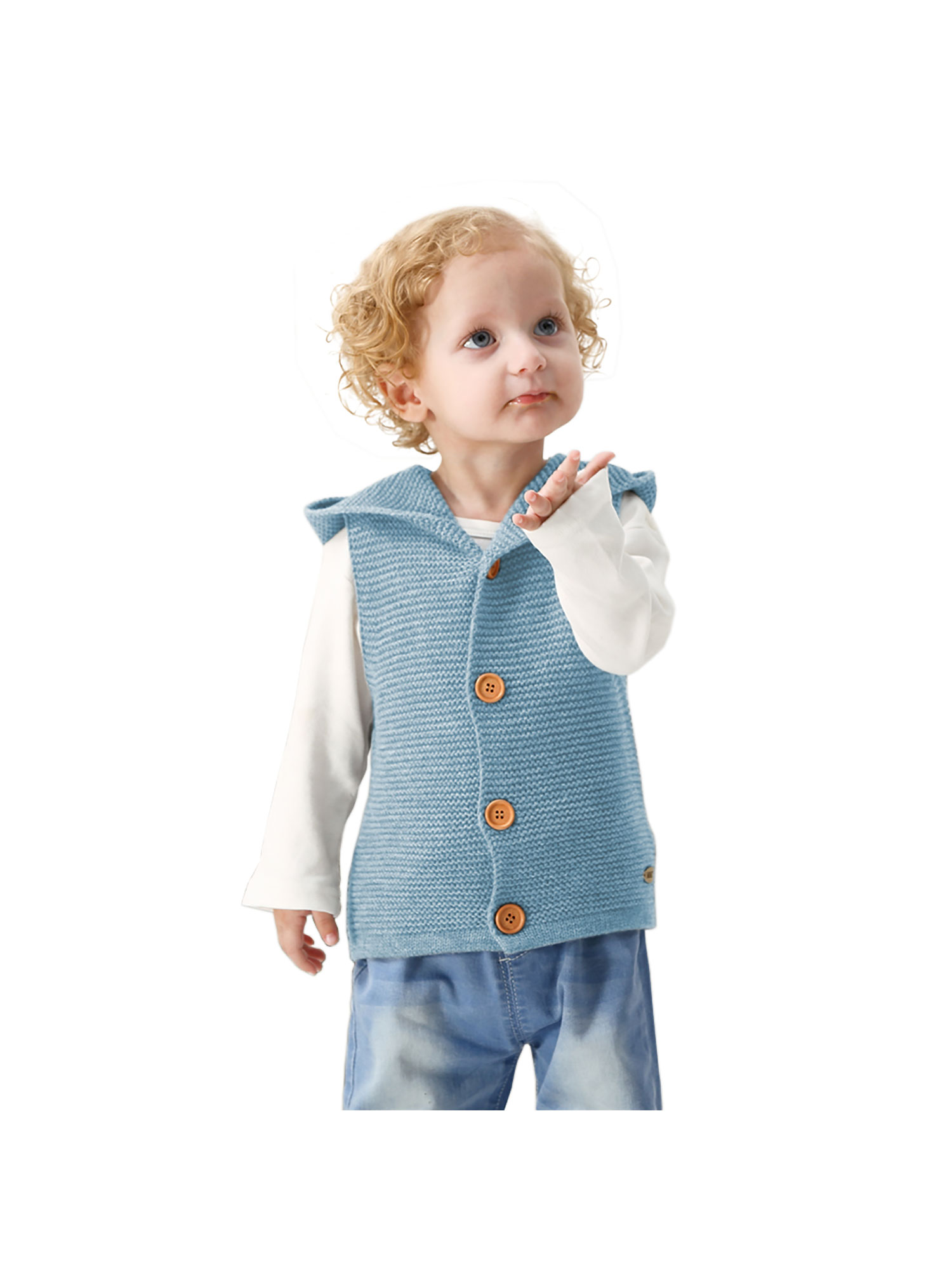 Baby Knitted Waistcoat Toddler Hooded Sleeveless Cardigan Sweater