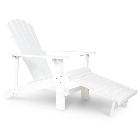 Wooden Adirondack Chair White Painting With Adjustable Footstool Fan Back (Adirondack Fan Back Chair)