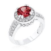 Jgoodin R08226R-C13-06 Garnet Halo Engagement Ring - Size 06