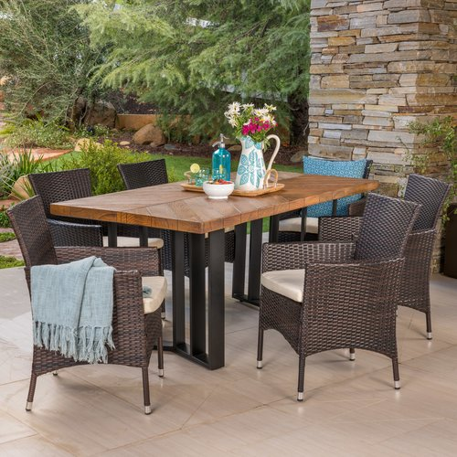 Gracie Oaks Ortonville Outdoor 7 Piece Dining Set With Cushions