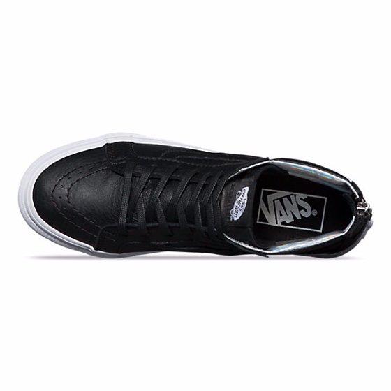 b2823c8424 Vans - Vans Sk8-Hi Slim Zip Hologram True White   Mid-Top Leather  Skateboarding Shoe - 7M 5.5M - Walmart.com