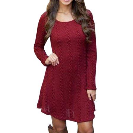 Womens Long Sleeve Knit Sweater Top Ladies Round Neck Tunic Mini Jumper Dress Blouse