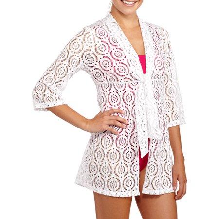 Women S Crochet Tie Front Tunic Swim Cover Up Walmart Com