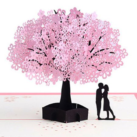 Fancyleo  Pink Romantic Cherry Blossom 3D Stereo Greeting Card Blessing Love Wedding Gift Cherry Tree Paper Carving Handmade Card Birthday Valentine Gifts Pink Romantic Cherry Blossom 3D Stereo Greeting Card Blessing Love Wedding Gift Cherry Tree Paper Carving Handmade Card Birthday Valentine Gifts