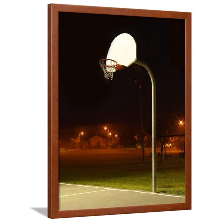 Basketball Net and Court Framed Print Wall Art