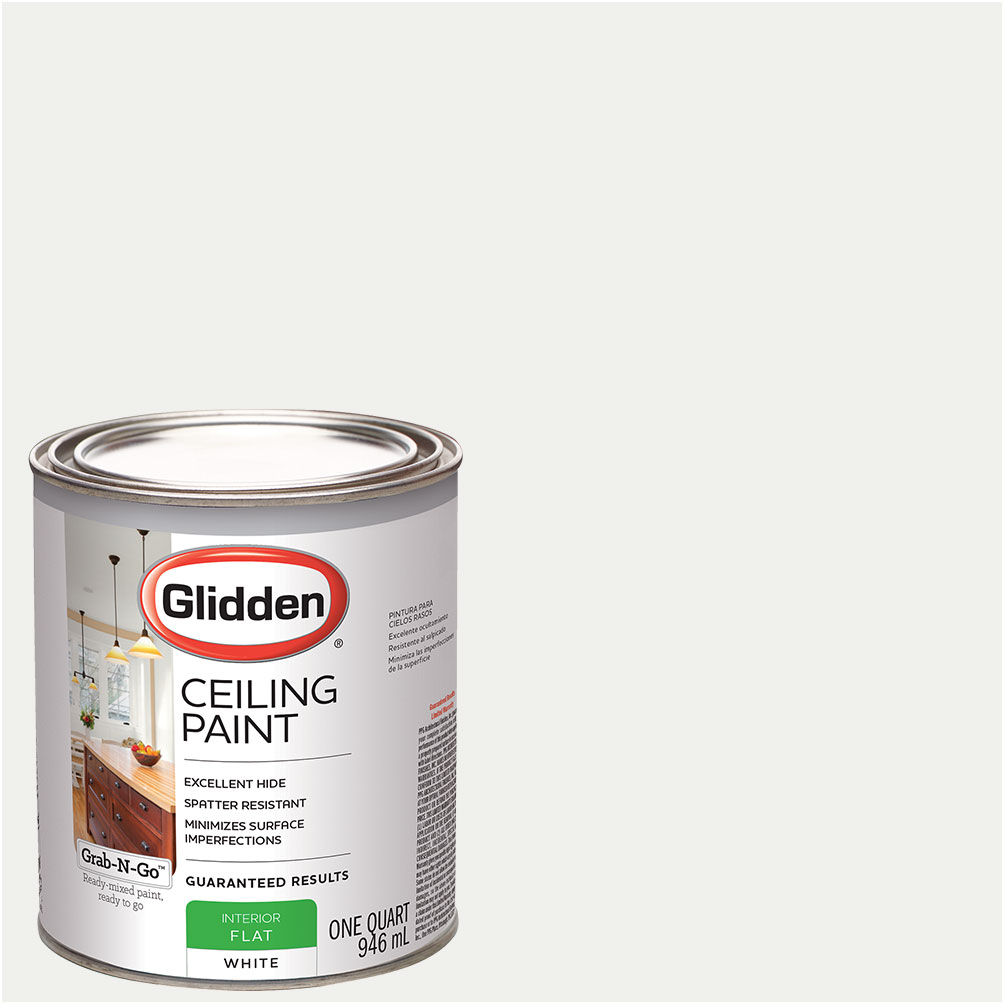 Glidden Ceiling Paint, Grab-N-Go, Interior Paint, White, Flat Finish by