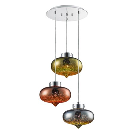 SereneLife SLLMP36 - Pendant Light / Triple Hanging Lamp Ceiling Light Fixture, Sculpted Glass Lighting Accents