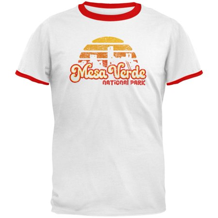National Park Retro 70s Sunset Mesa Verde Mens Ringer T Shirt - 70s Clothes Men