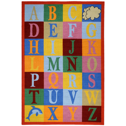 Rugnur Bambino Kids Fun Time Educational Alphabet Boxes Area Rug