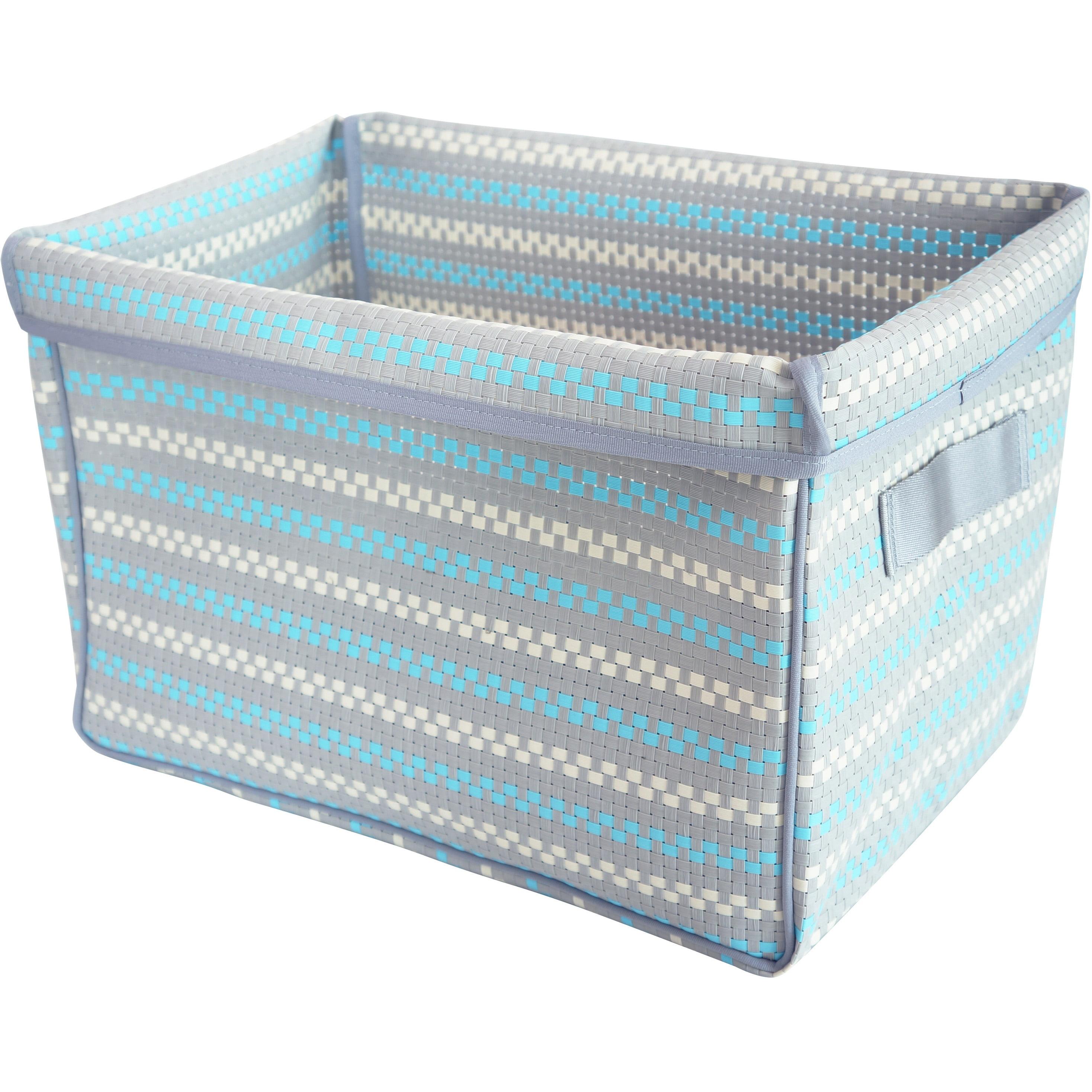 Pivoine Foldable Storage Basket, Mosaic Gray and Sky Blue