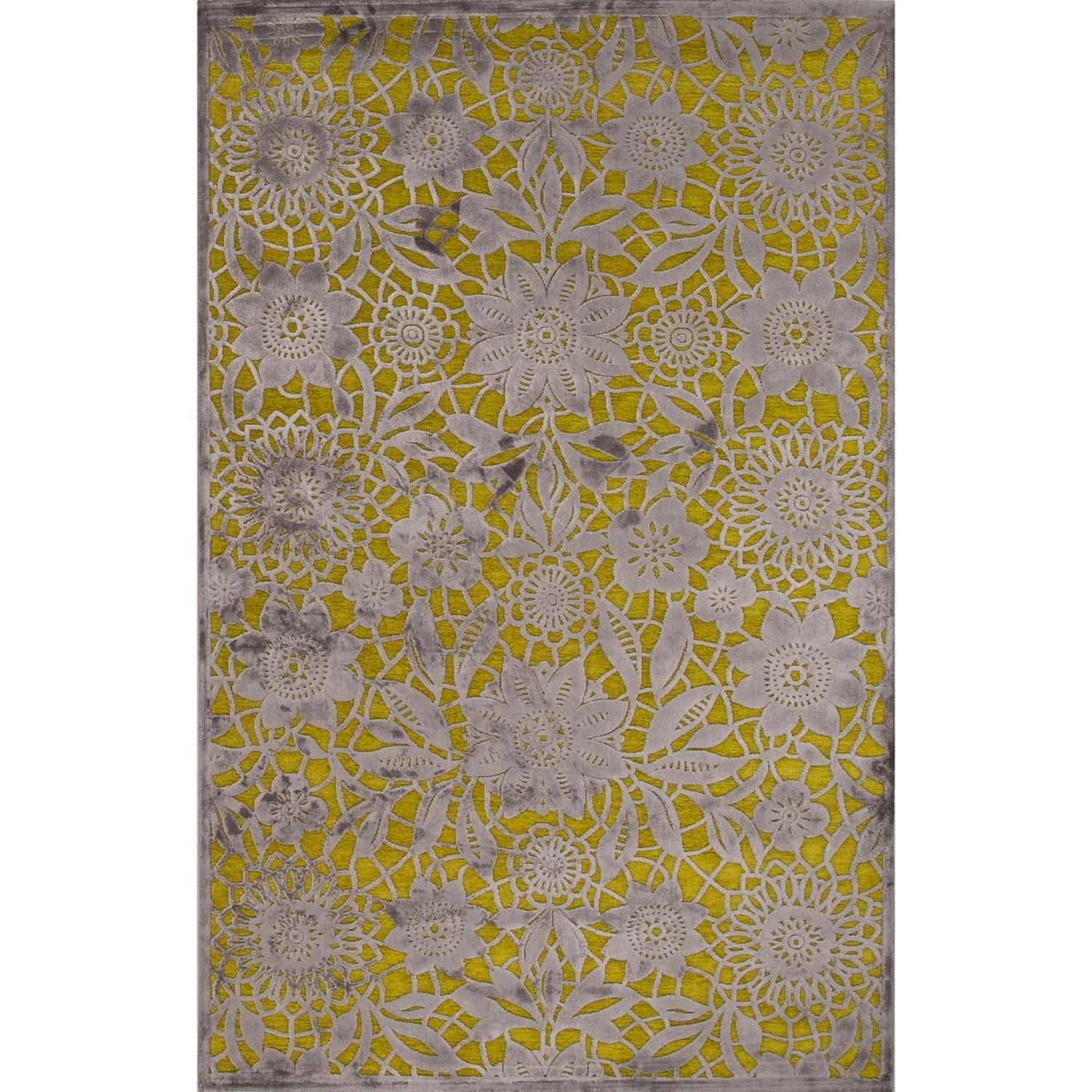 2' x 3' Sunflower Yellow and Gravel Gray Vivrant Floral Transitional Area Throw Rug