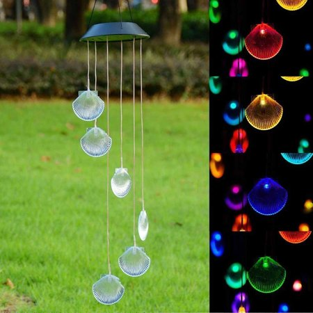 Changing Color Seashell Solar Wind Chimes, LED Wind Chime Night Lights Solar Hanging Lantern for Home Garden Bedroom Outdoor Decoration