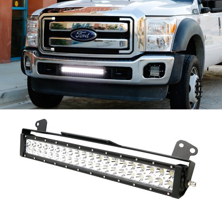 "iJDMTOY Complete 20"" 120W High Power LED Light Bar w/ Lower Bumper Grille Mounting Brackets For 2011-2016 Ford F-250 F-350 Super Duty"