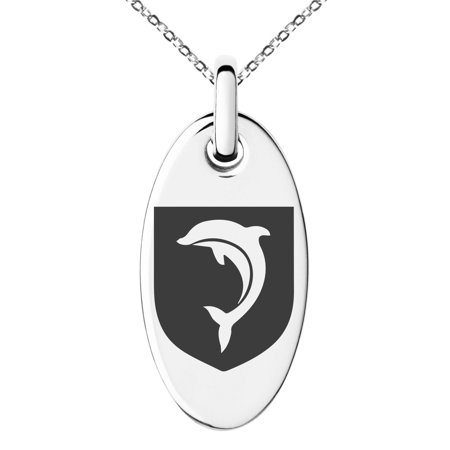 Stainless Steel Dolphin Diligence Coat of Arms Shield Engraved Small Oval Charm Pendant Necklace