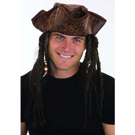 Brown Weathered Pirate Hat with Dread Braids