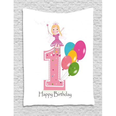 1st Birthday Decorations Tapestry Princess Fairy Party Theme With Wish Wand And Balloons Wall Hanging For Bedroom Living Room Dorm Decor 60w X 80l