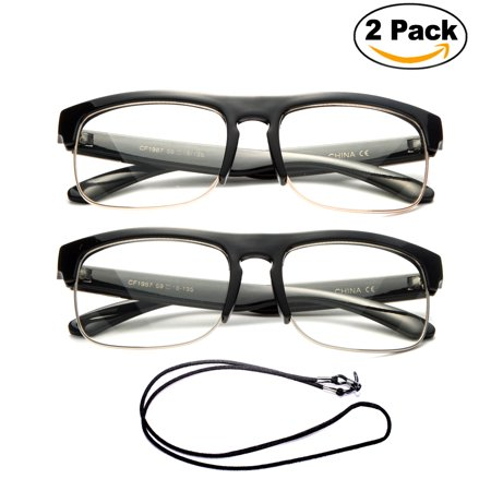 2 Pair Newbee Fashion- Half Frame Slim Rimless Oversized Retro Large Readers Fashion Reading Glasses, +1.00 - Oversized Glasses