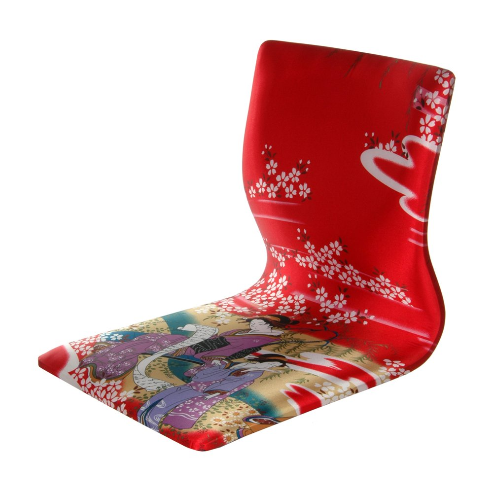 Tatami Meditation Backrest Chair, Red Geisha