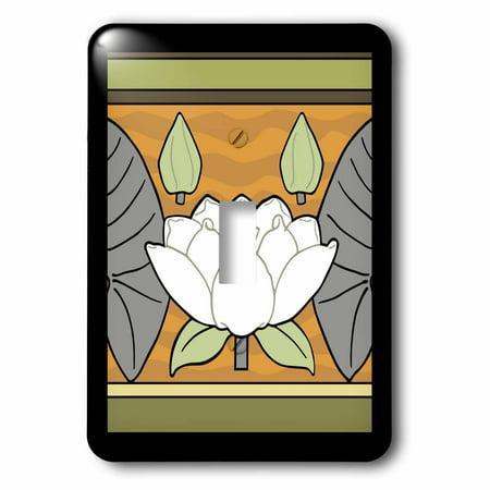 - 3dRose White Art Nouveau Water Lily Design - Single Toggle Switch