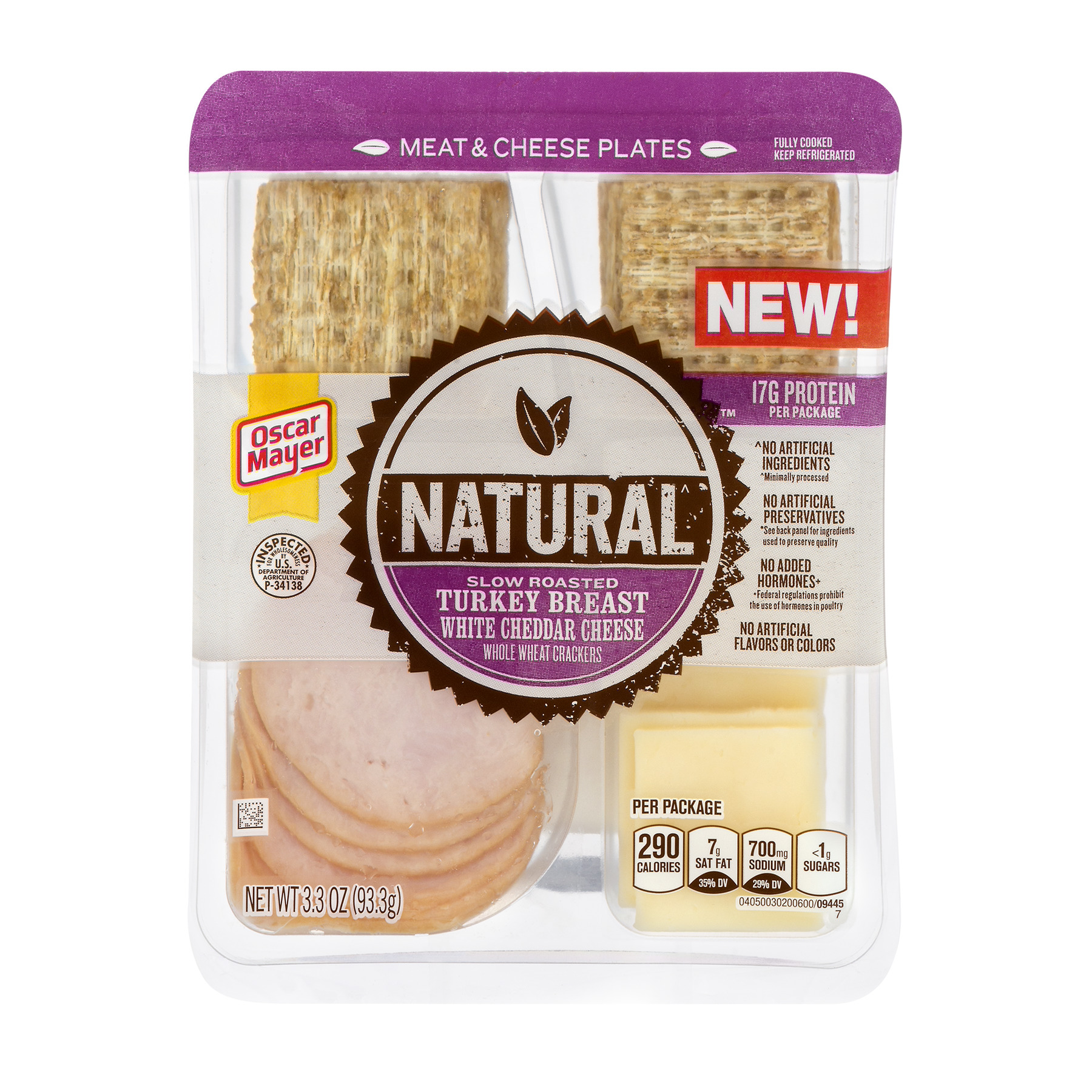 Oscar Mayer Natural Slow Roasted Turkey Breast, White Cheddar Cheese and Whole Wheat Crackers, 3.3 OZ
