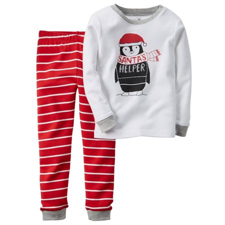 carters infant boys 2 piece santas helper christmas pajama set walmart com - Walmart Christmas Pajamas