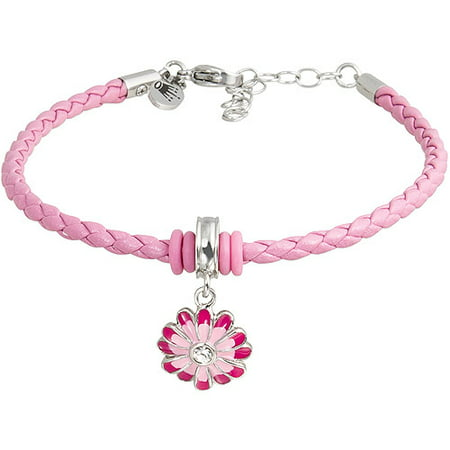 Stainless Steel Pink Enamel Flower with Crystal Pink Braided Bracelet, 7 with 1-1/2