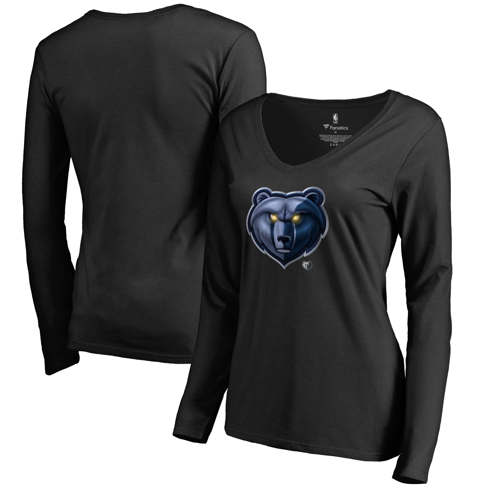 Memphis Grizzlies Fanatics Branded Women's Midnight Mascot Long Sleeve V-Neck T-Shirt - Black