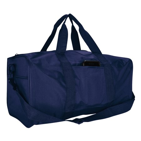 """19"""" ImpecGear Duffle Bag Travel Sports Gym Nylon Square Strap Carry On Adjustable Bag (Navy)"""