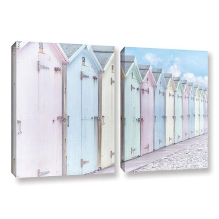 Artwall  Cora Nieles Sea Side Beach Cabins I 2 Piece Gallery Wrapped Canvas Set